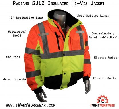 Radians SJ12 Insulated Hi-vis Jacket, iwantworkwear infographic