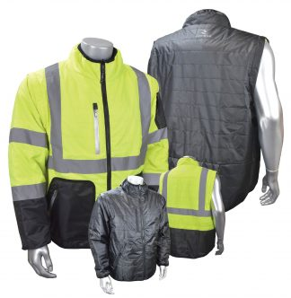 Radians SJ510 hi vis jacket, 4-in-1 insulated coat, removeable sleeves, combo