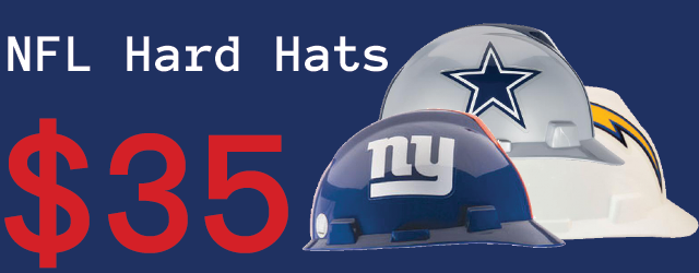 NFL hard hats for $35USD