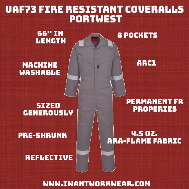 """The UAF73 is built from a high-tech fabric known as """"Araflame Plus"""" and offers permanent fire resistance while still remaining soft and flexible. The materials are pre-shrunk to so you dont have to worry about washing instructions. The coveralls are lightweight (4.5oz) and are inherently resistant to fire. Amaflame Plus is 93% meta-aramid (heat resistance), 5% para-aramid (strength) and 2% carbon fiber (anti-static)."""