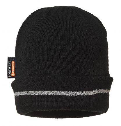 Portwest Insulated Reflective Beanie, Black