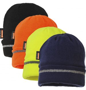 Portwest Insulated Reflective Beanie, available in black, orange, yellow or navy