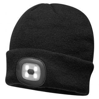Portwest B029 Rechargeable USB LED Winter Cap, black
