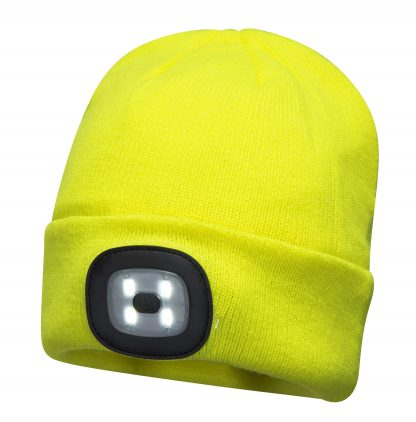 Portwest B029 Rechargeable USB LED Winter Cap, yellow