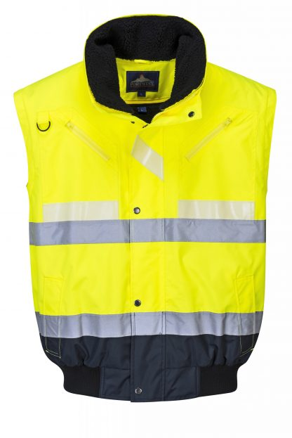 Portwest G465 Glow-in-the-dark High Visibility 3-in-1 Bomber Jacket removeable sleeves