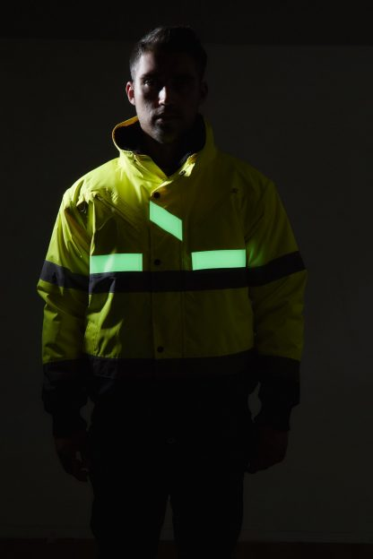 Portwest G465 Glow-in-the-dark High Visibility 3-in-1 Bomber Jacket, Fluorescent Tape