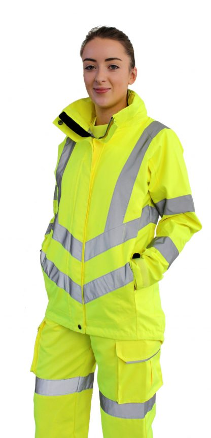 Portwest Lw70 Women's High Visibility Safety Jacket, Yellow onbody 1
