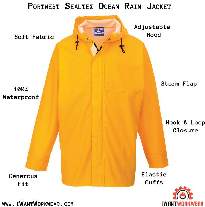 Portwest S250 Sealtex Ocean Jacket, Yellow, iwantworkwear.com infographic