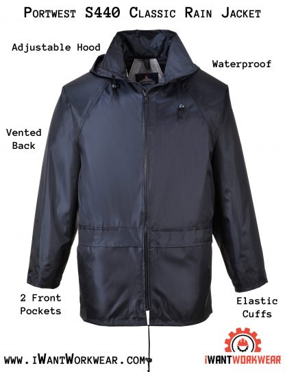 Portwest US440 Classic Rain Jacket, Navy, iwantworkwear infographic