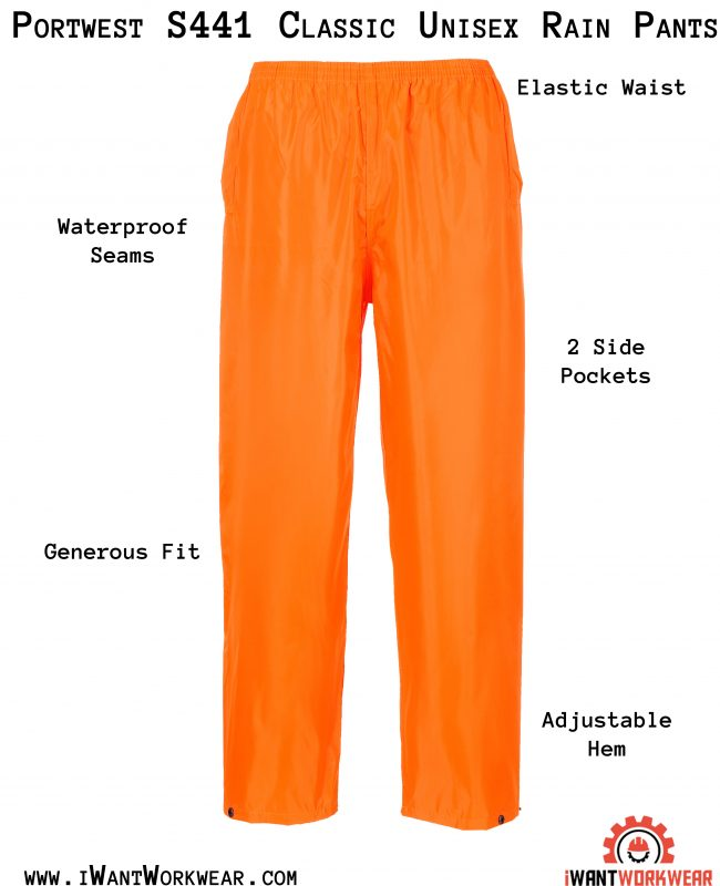 Portwest S441 Classic Rain Pants, iwantworkwear infographic
