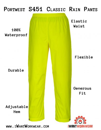 Portwest S451 Classic Yellow Waterproof Rain Pants, iwantworkwear infographic