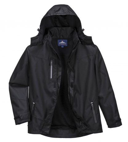 Portwest S555 Men's Outcoach Waterproof Rain Jacket, Black, front 2