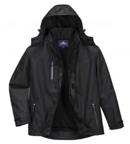 Portwest S555 Men's Outcoach Waterproof Rain Jacket, Black, front 2