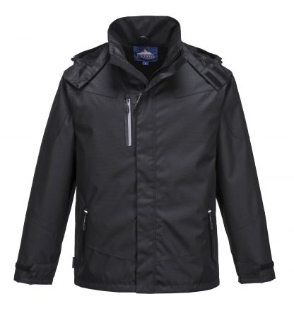 Portwest S555 Men's Outcoach Waterproof Rain Jacket, Black, front 1