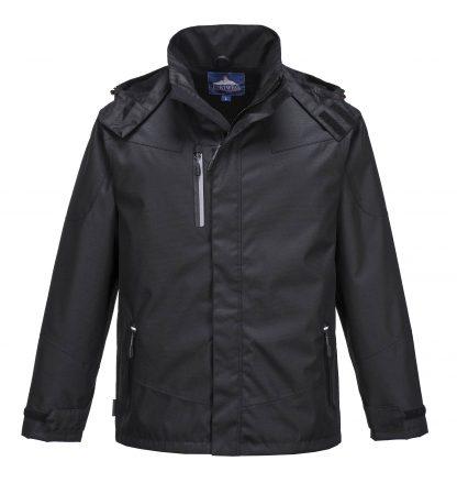 Portwest S555 Men's Outcoach Waterproof Rain Jacket, Black, front 1
