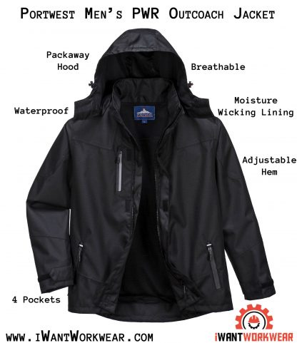 Portwest S555 Men's Outcoach Waterproof Rain Jacket, Black, iwantworkwear infographic