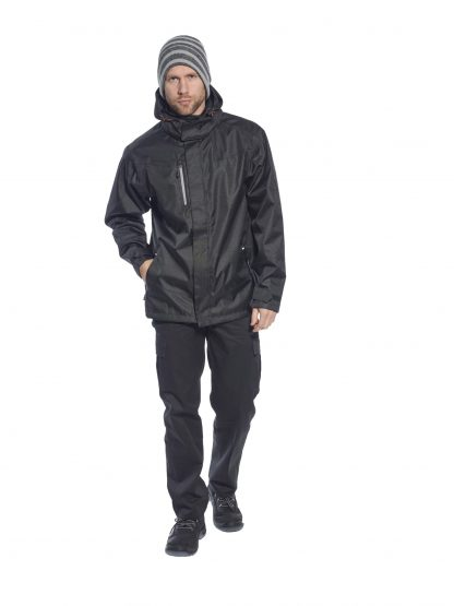 Portwest S555 Men's Outcoach Waterproof Rain Jacket, Black, on body
