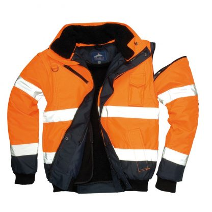 Portwest UC465 High Visibility 3-in-1 Bomber Jacket, orange