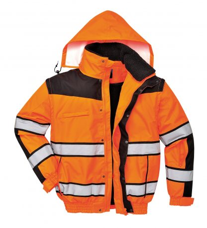 Portwest High Visibility UC466 Orange Reflective Jacket, 3-in-1 on body