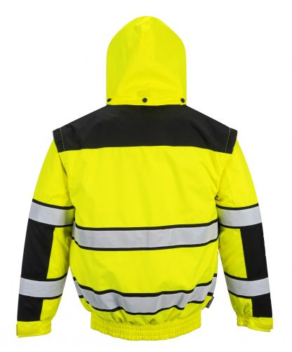 Portwest High Visibility UC466 Yellow Reflective Jacket, 3-in-1 on body rear