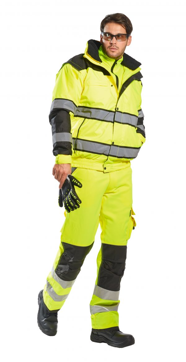 Portwest High Visibility UC466 Yellow Reflective Jacket, 3-in-1 on body