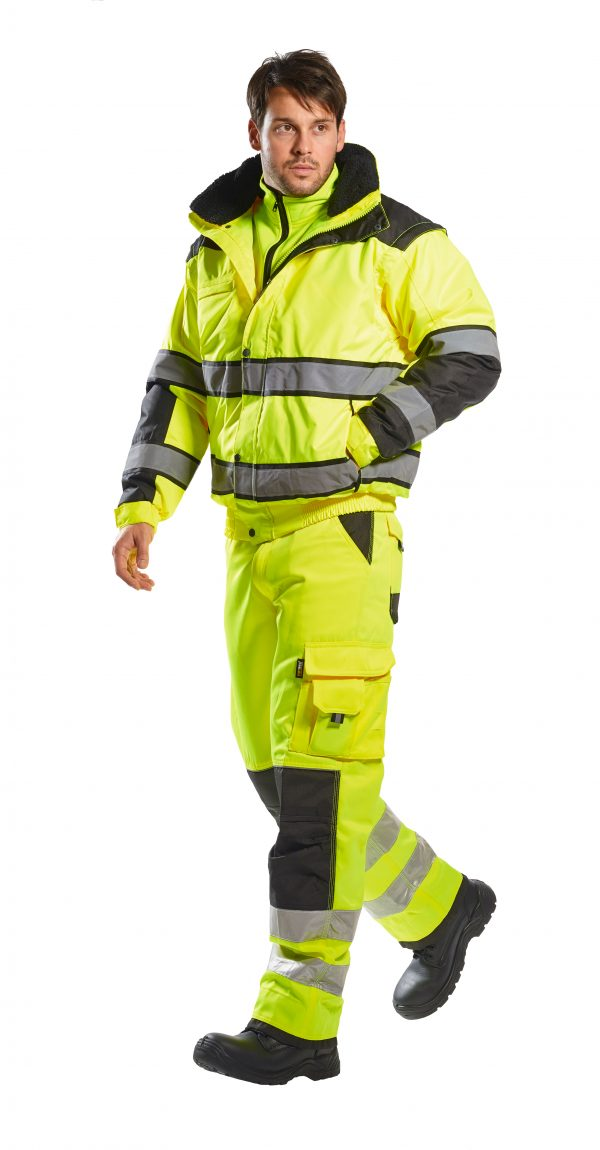 Portwest High Visibility UC466 Yellow Reflective Jacket, 3-in-1 on body 2
