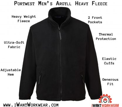 Portwest Heavyweight Fleece Jacket, Black Iwantworkwear infographic