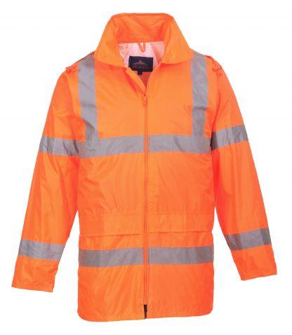 Portwest UF440 High Visibility Rain Jacket, reflecitve, Unisex, Orange hood down