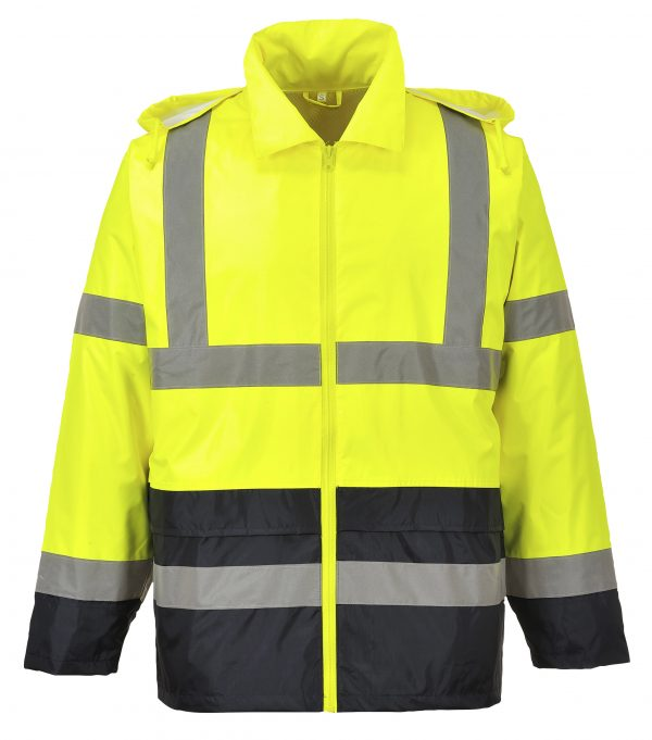 Portwest UH443 High Visibility Rain Jacket with black bottom, relfective, unisex