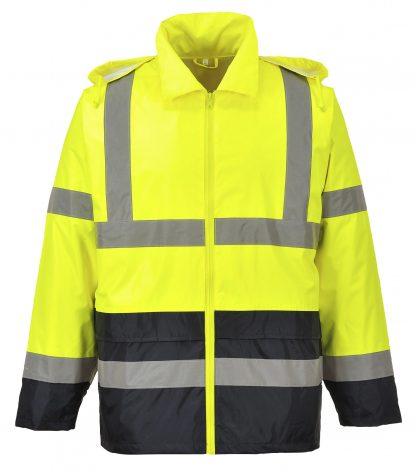 Portwest UH443 High Visibility Rain Jacket with black bottom, relfective, unisex