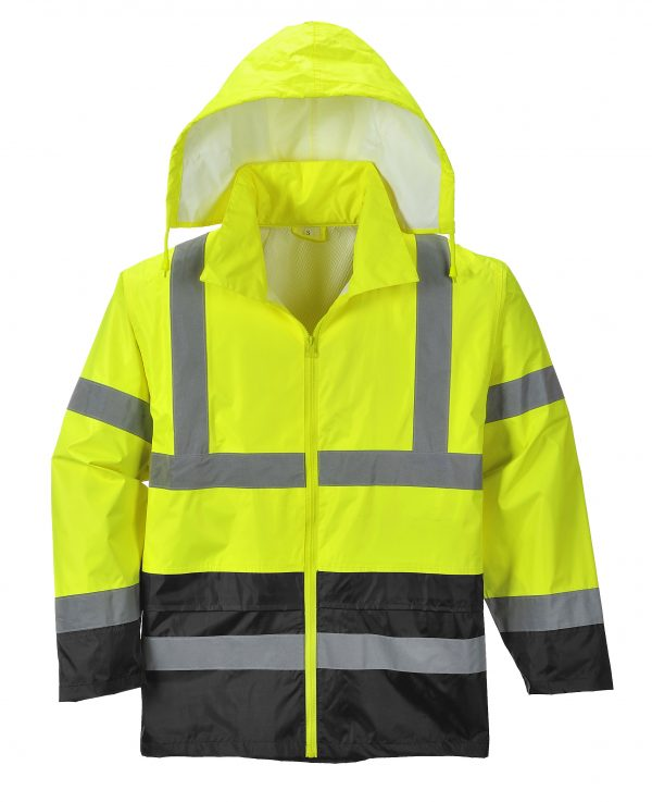 Portwest UH443 High Visibility Rain Jacket with black bottom, relfective, unisex with hood