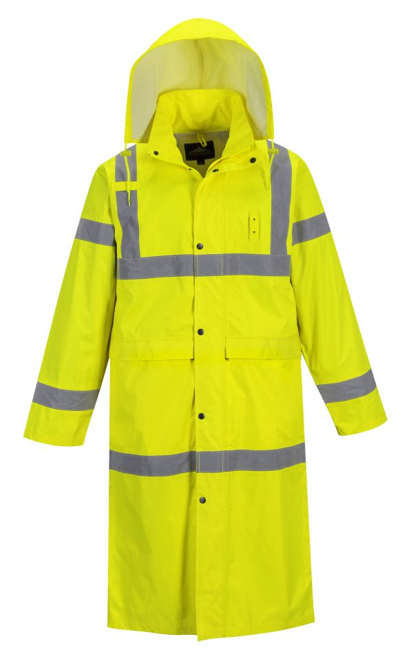 Portwest UF445 High Visibility Rain Coat, Yellow, Reflective Unisex
