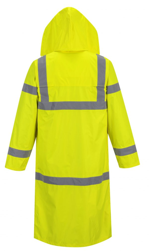 Portwest UF445 High Visibility Rain Coat, Yellow, Reflective Unisex rear