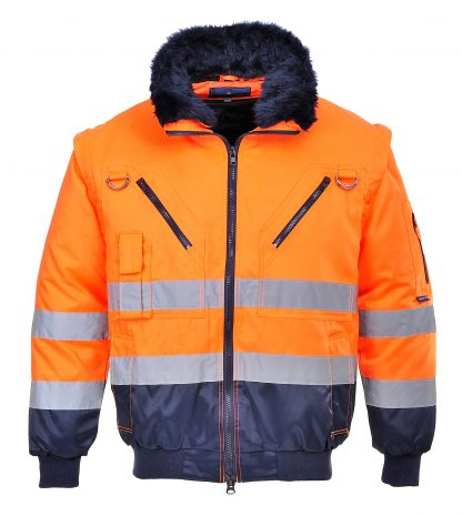 Portwest UPJ50 High Visibility 3-in-1 Pilot Jacket, Orange, Front