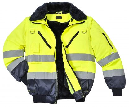 Portwest UPJ50 High Visibility 3-in-1 Pilot Jacket, Yellow, Front Open