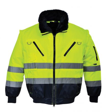 Portwest UPJ50 High Visibility 3-in-1 Pilot Jacket, Yellow, Front Closed