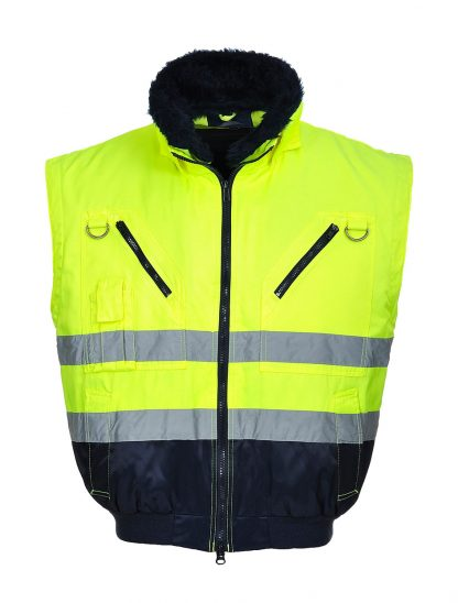 Portwest UPJ50 High Visibility 3-in-1 Pilot Jacket, Yellow, Front No Sleeves