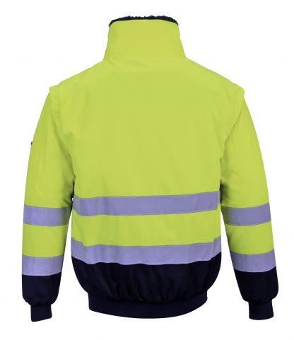 Portwest UPJ50 High Visibility 3-in-1 Pilot Jacket, Yellow, Rear