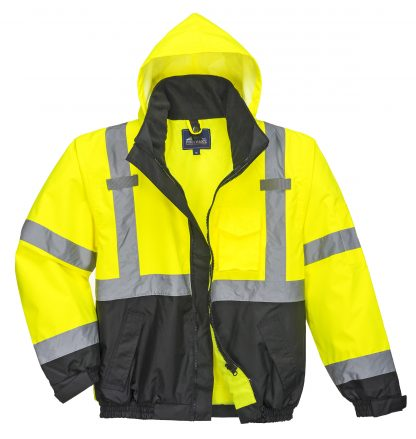Portwest US365 3-in-1 High Visibility Jacket, Reflective, Yellow, Front without liner