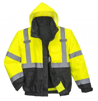 Portwest US365 3-in-1 High Visibility Jacket, Reflective, Yellow, Front with liner