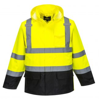 Portwest US366 High Visibility Unisex Rain Jacket, Black Bottom