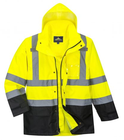Portwest US366 High Visibility Unisex Rain Jacket, Black Bottom open