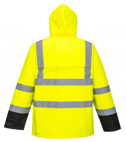 Portwest US366 High Visibility Unisex Rain Jacket, Black Bottom back