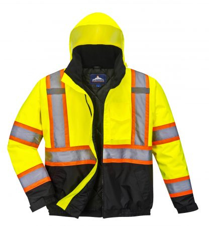 Portwest US367 High Visibility two-tone Safety Jacket w/ Removable Liner, Front with liner