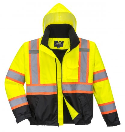 Portwest US367 High Visibility two-tone Safety Jacket w/ Removable Liner, Front without liner