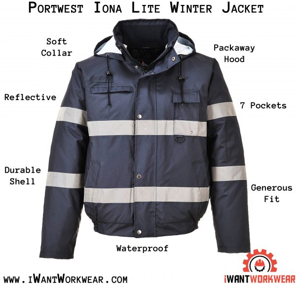 Portwest Men's Ionalite High Visibility Reflective Winter Jacket