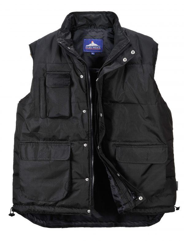 Portwest Men's Classic Winter Vest, Black open
