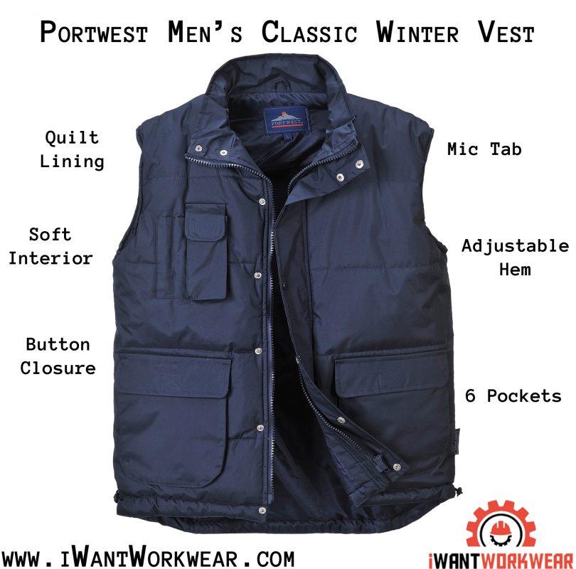 Portwest Men's Classic Winter Vest, Navy