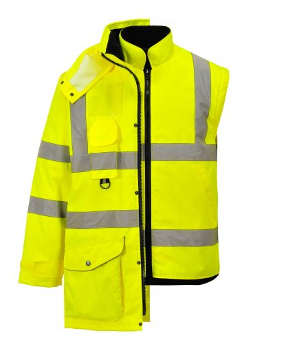 Portwest US427 High Visibility 7-in-1 Traffic Jacket, 9
