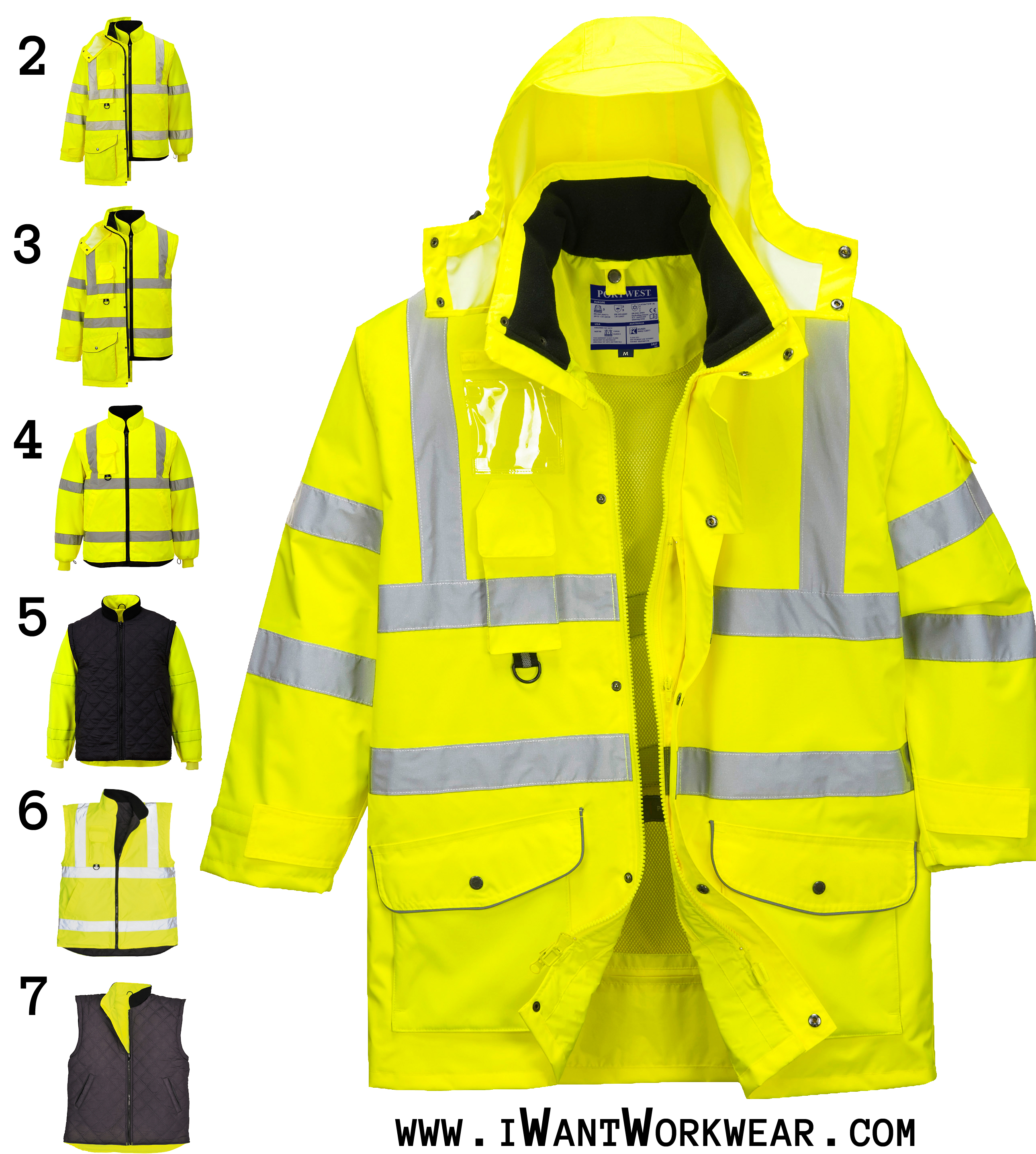 Portwest US427 High Visibility 7-in-1 Traffic Jacket b06524d56e82